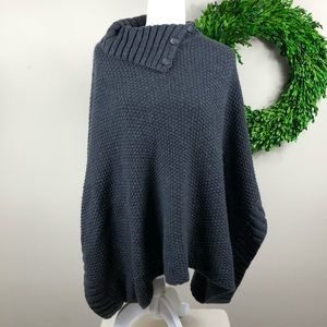 CASLON | Gray Pullover Poncho Wool Blend Sweater